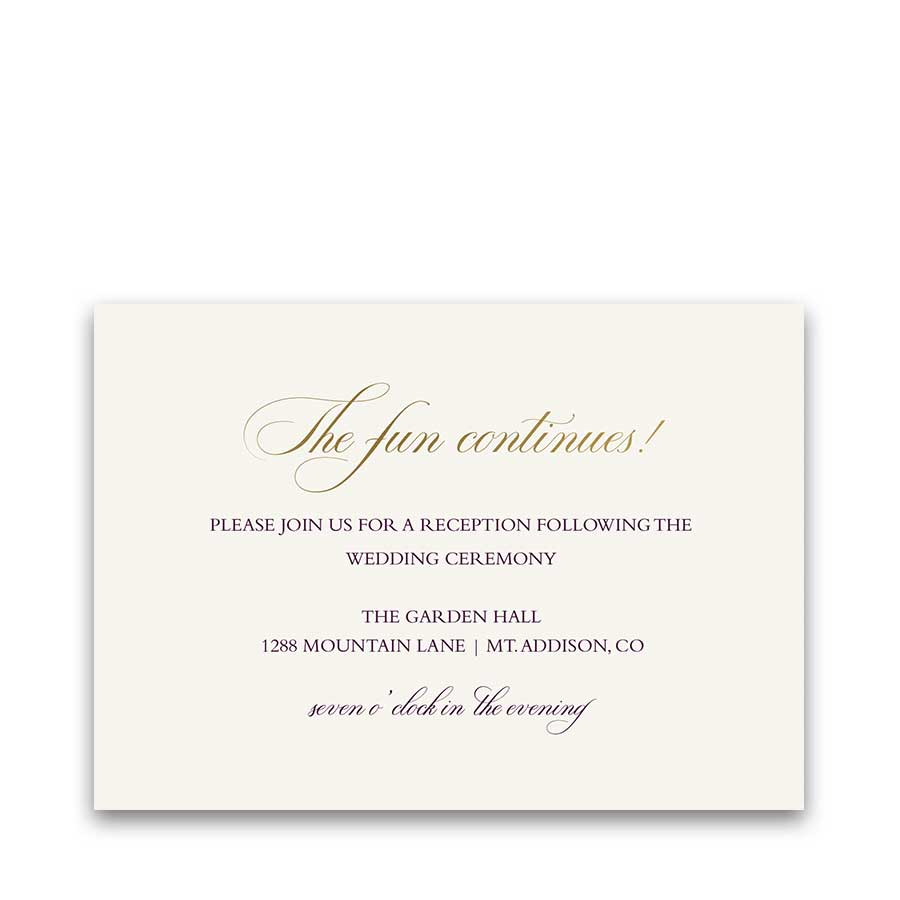 Wedding Reception Details Card Plum purple Gold