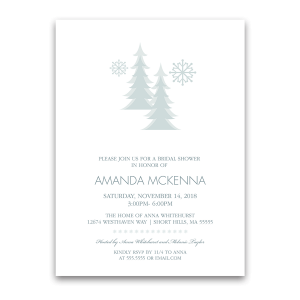 Snowflake Winter Bridal Shower Invites in Pale Blue