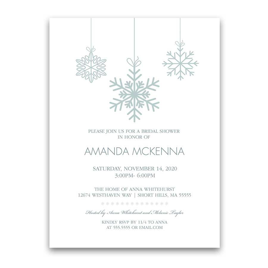 snowflake winter bridal shower invitations pale blue wedding