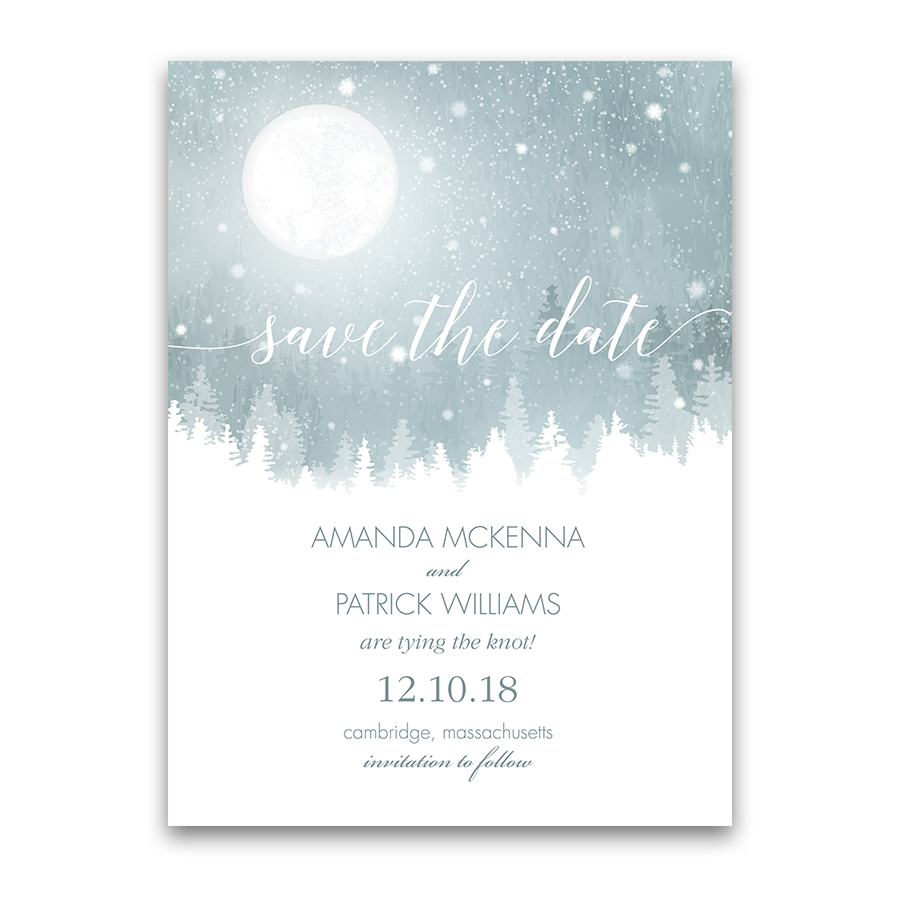 Rustic Winter Save the Date Pale Blue Snowflake Card