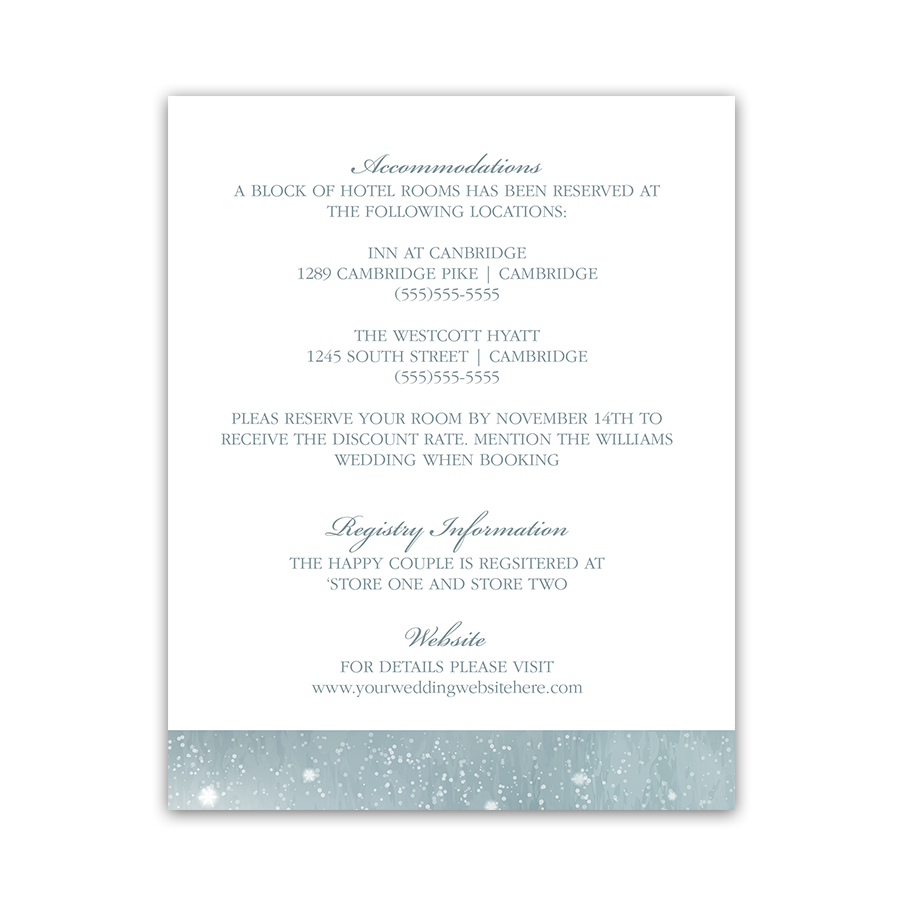 Rustic Snowflake Winter Wedding Guest Information Card