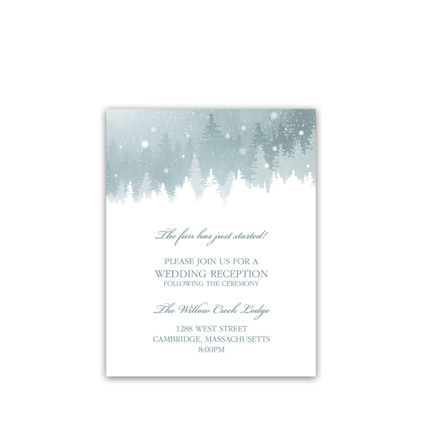 Rustic Snowflake Winter Wedding Reception Insert Card
