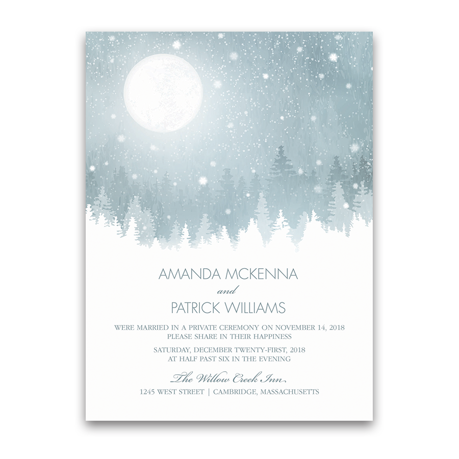 Rustic Snowflake Winter Wedding Reception Only Invite