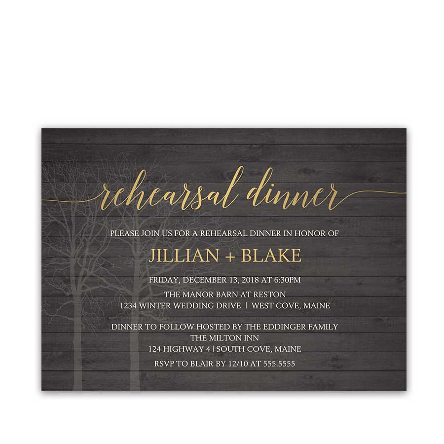 Rustic Winter Wedding Rehearsal Invitation Woodsy Tree Wood