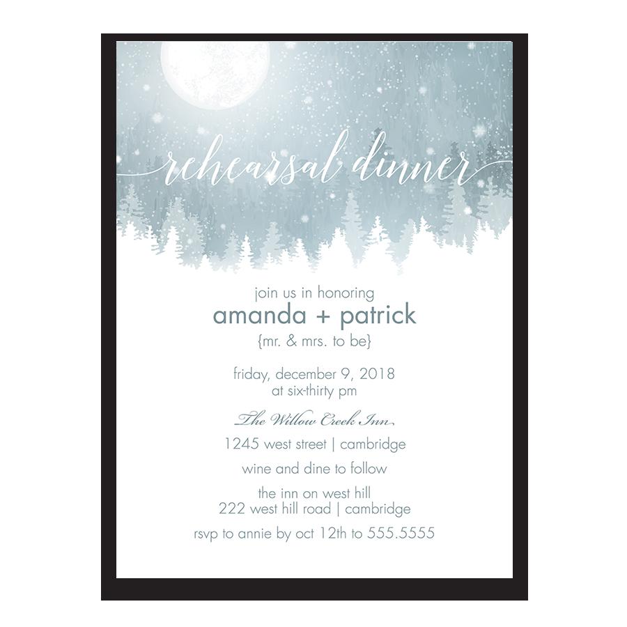 Rustic Snowflake Winter Wedding Rehearsal Invite