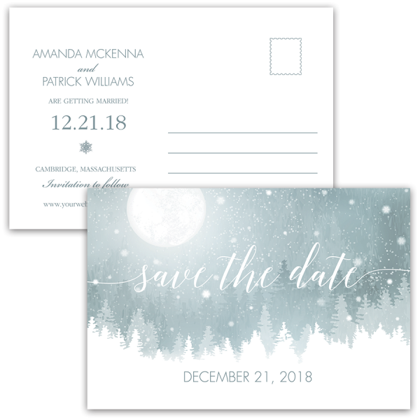 Rustic Winter Save the Date Blue Snowflake Postcard – Winter Wedding Save the Date