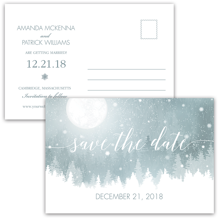 Rustic Winter Save the Date Blue Snowflake Postcard
