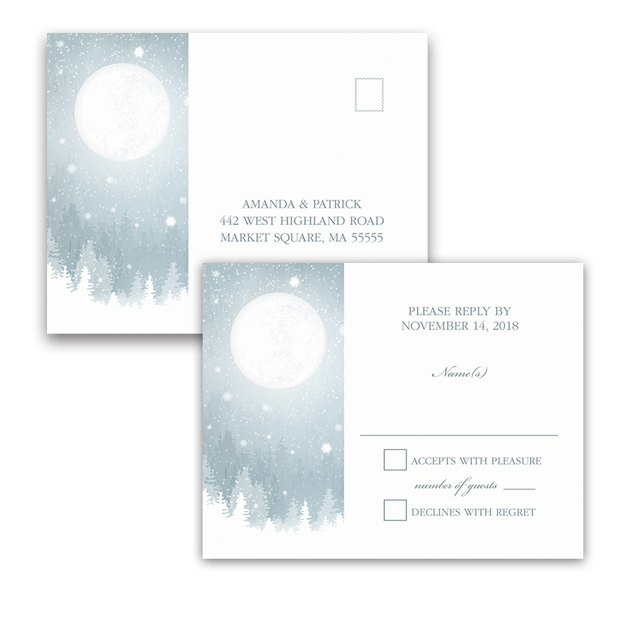 Rustic Snowflake Blue Winter Wedding RSVP Postcard