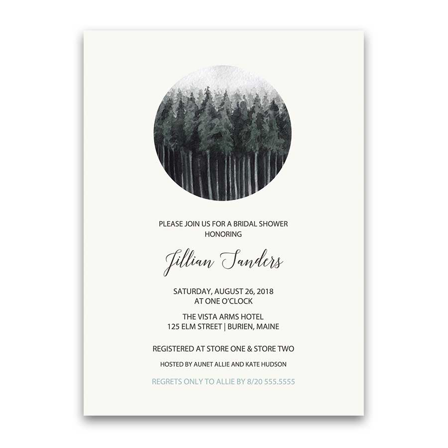 Rustic Bridal Shower Invitation Woodsy Winter Tree landscape