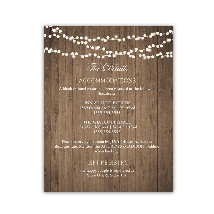 Rustic Mason Jar Wildflower Guest Information Cards