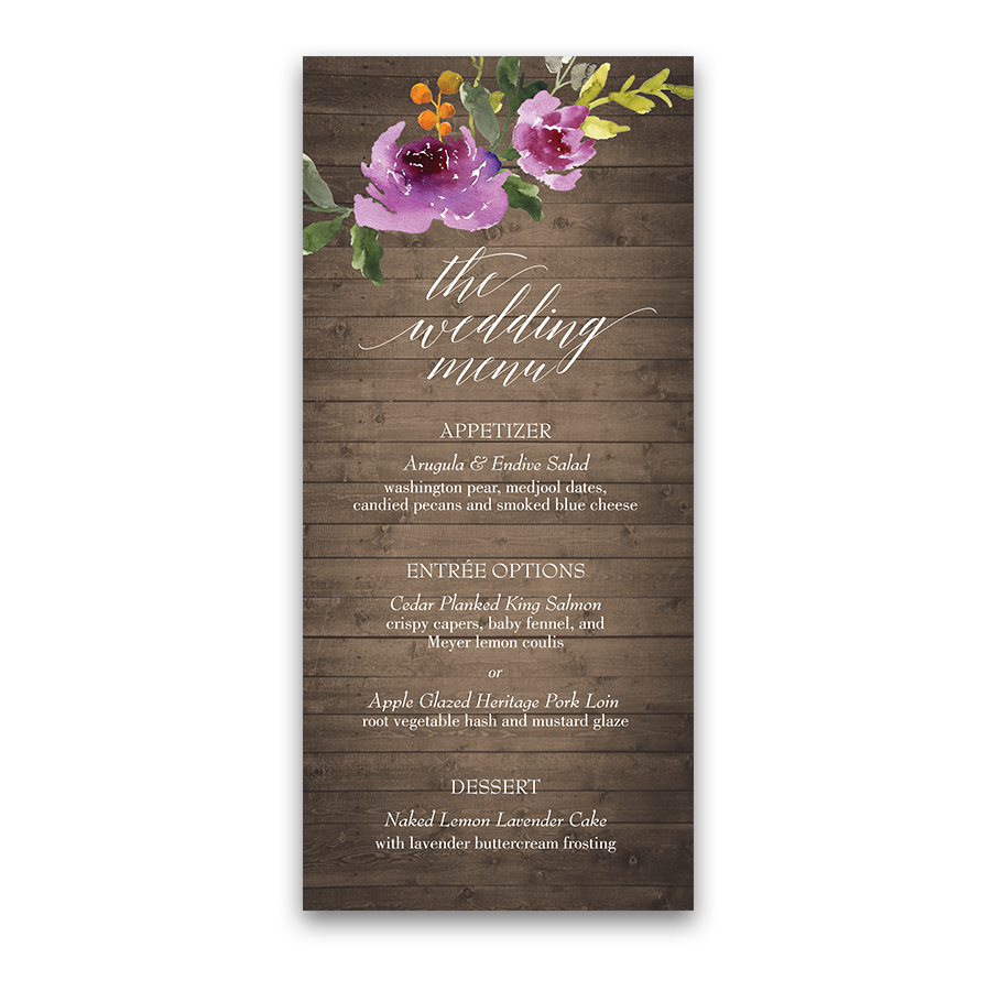 Rustic Wood Watercolor Floral Purple Wedding Menu