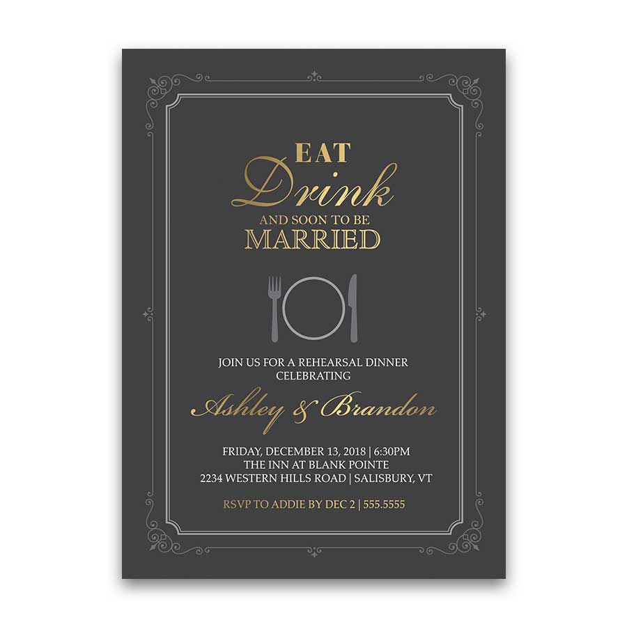 Eat Drink Be Married Rehearsal Dinner Invitation