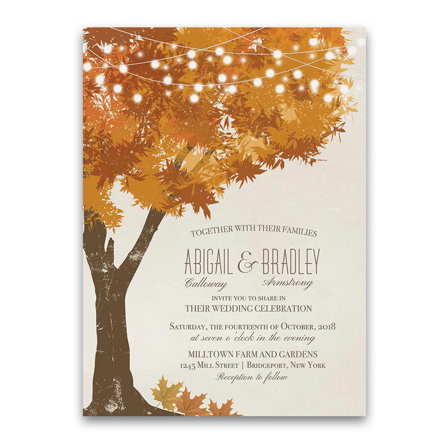 Rustic Fall Tree Golden Leaves Wedding Invitations