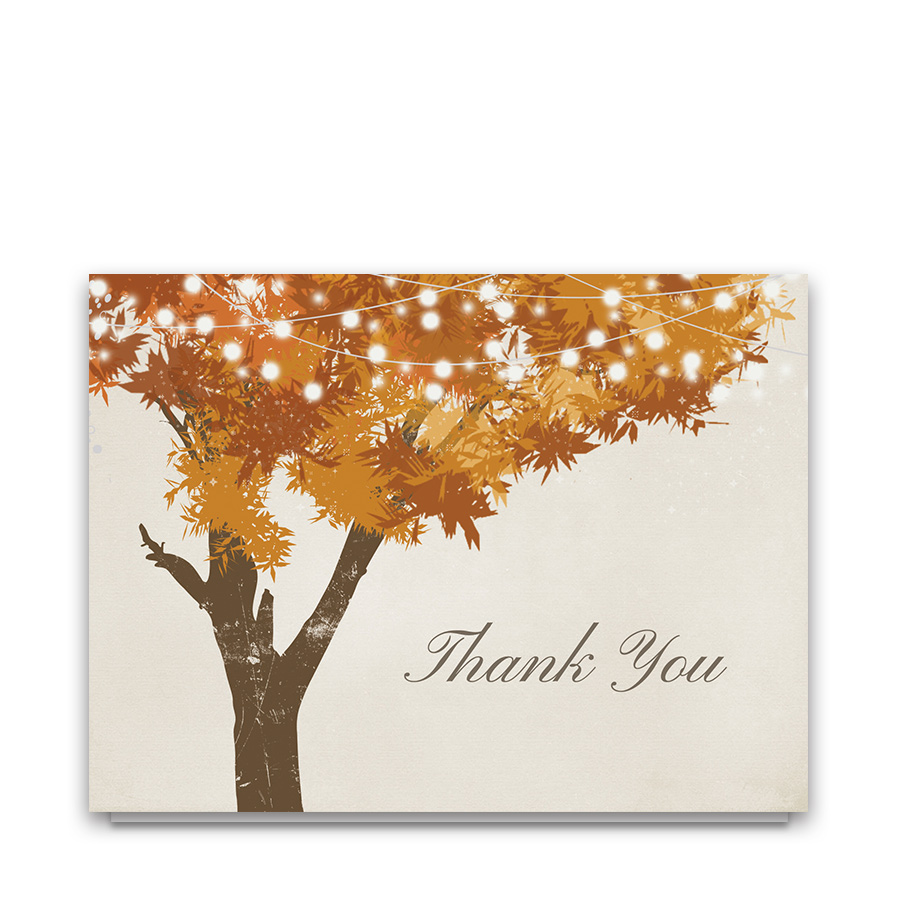 Rustic Fall Tree Wedding Thank You Cards