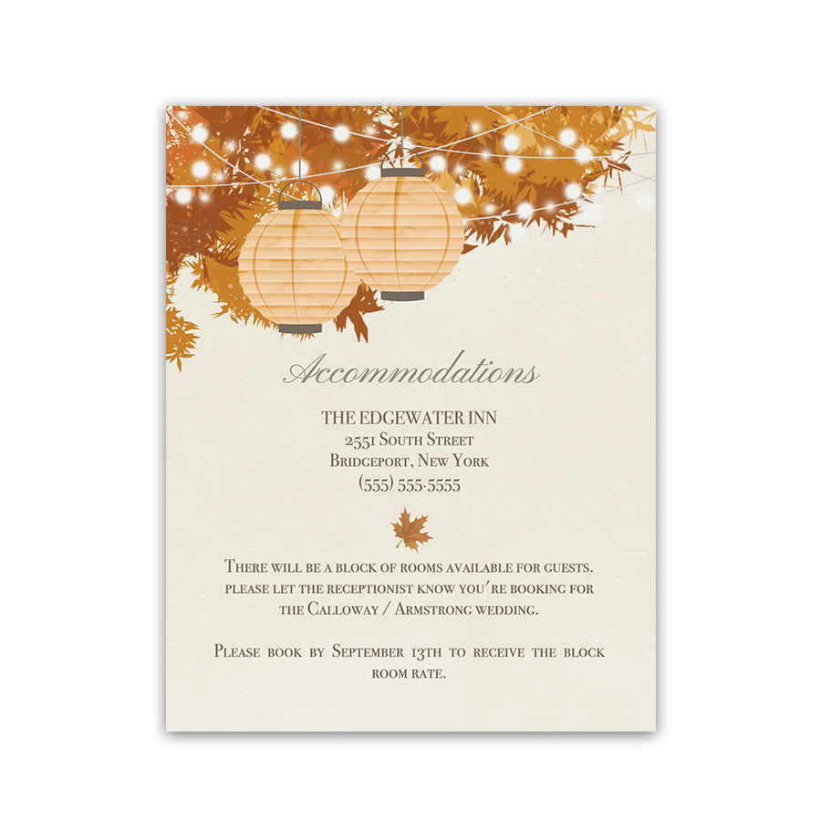 Rustic Fall Wedding Guest Information Insert Cards