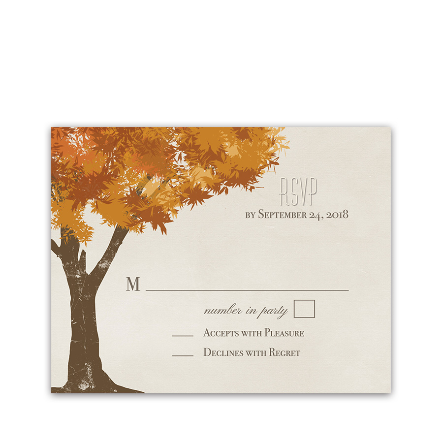 Rustic Fall Trees Golden Leaves Wedding RSVP Cards