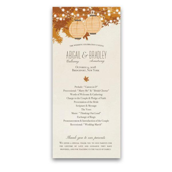 Fall Leaves Autumn Wedding Program Order Of Service