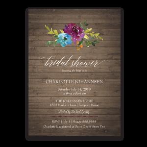 Watercolor Bohemian Floral Bridal Shower Invitation