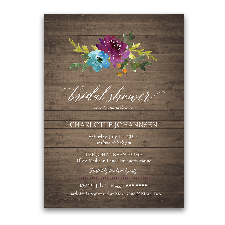 Watercolor bohemian floral bridal shower invitation for Invitations for wedding shower