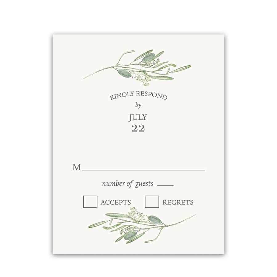 Wedding Reply Cards Greenery Theme