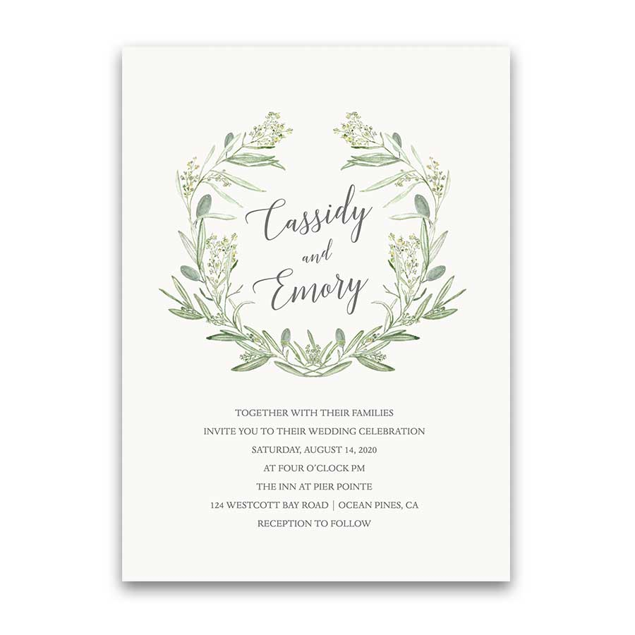 Watercolor Wreath Greenery Wedding Invitations Laurel Greens