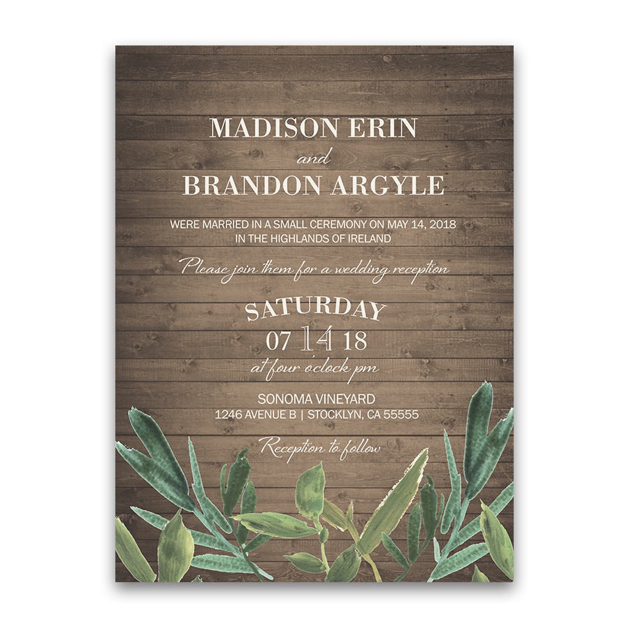 rustic greenery watercolor wedding reception invitation