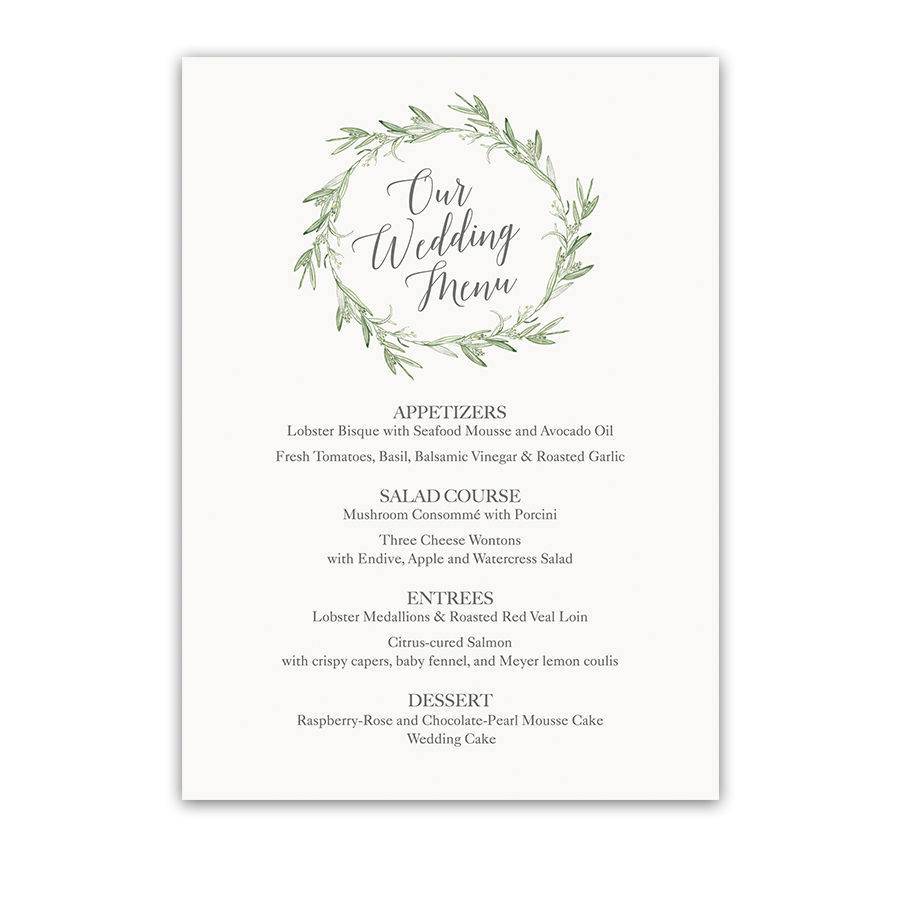 Watercolor Wreath Laurel Greenery Wedding Menu
