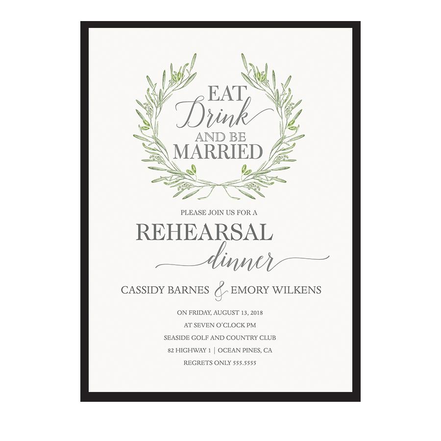 Eat Drink Be Married Wedding Rehearsal Dinner Invite