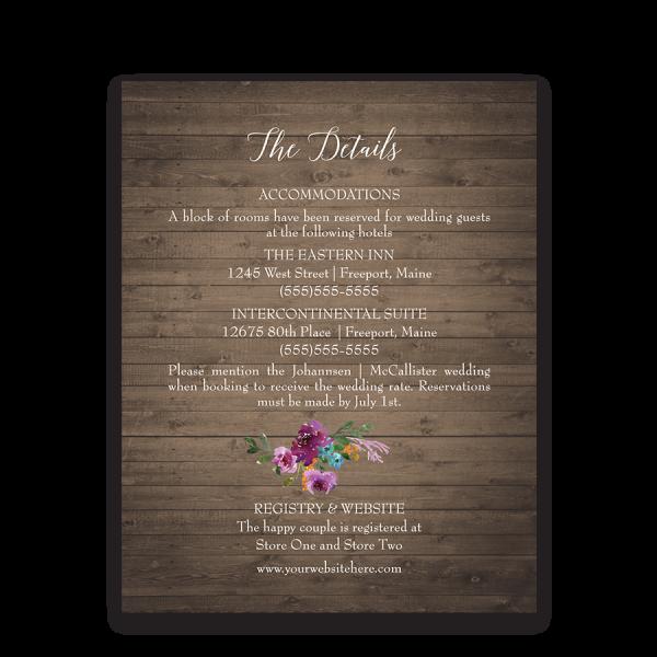 Rustic Purple Floral Wedding Guest Information Card
