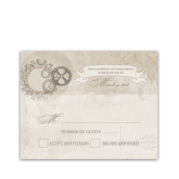 Steampunk Wedding Vintage Industrial Chic RSVP Card