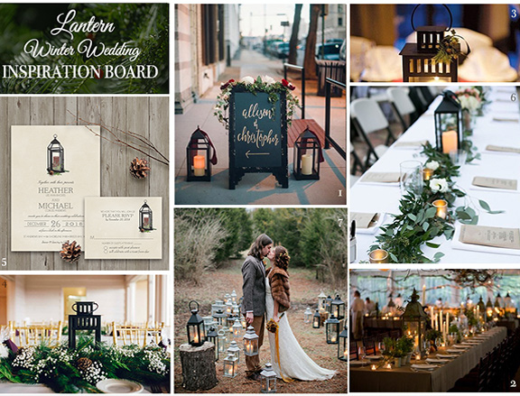 Winter Wedding Inspiration Board Lanterns Greenery