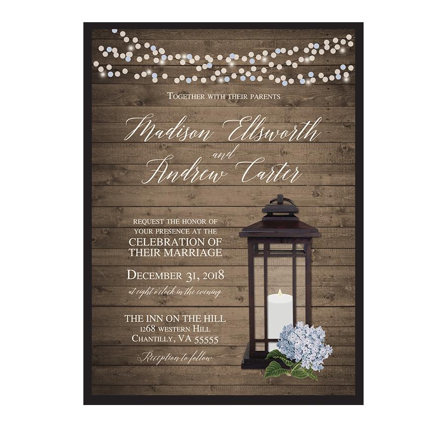 Rustic Metal Lantern Blue Hydrangea Wedding Invitations