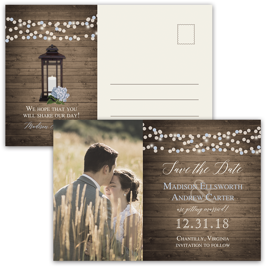 Rustic Chic Metal Lantern Photo Save the Date Postcard