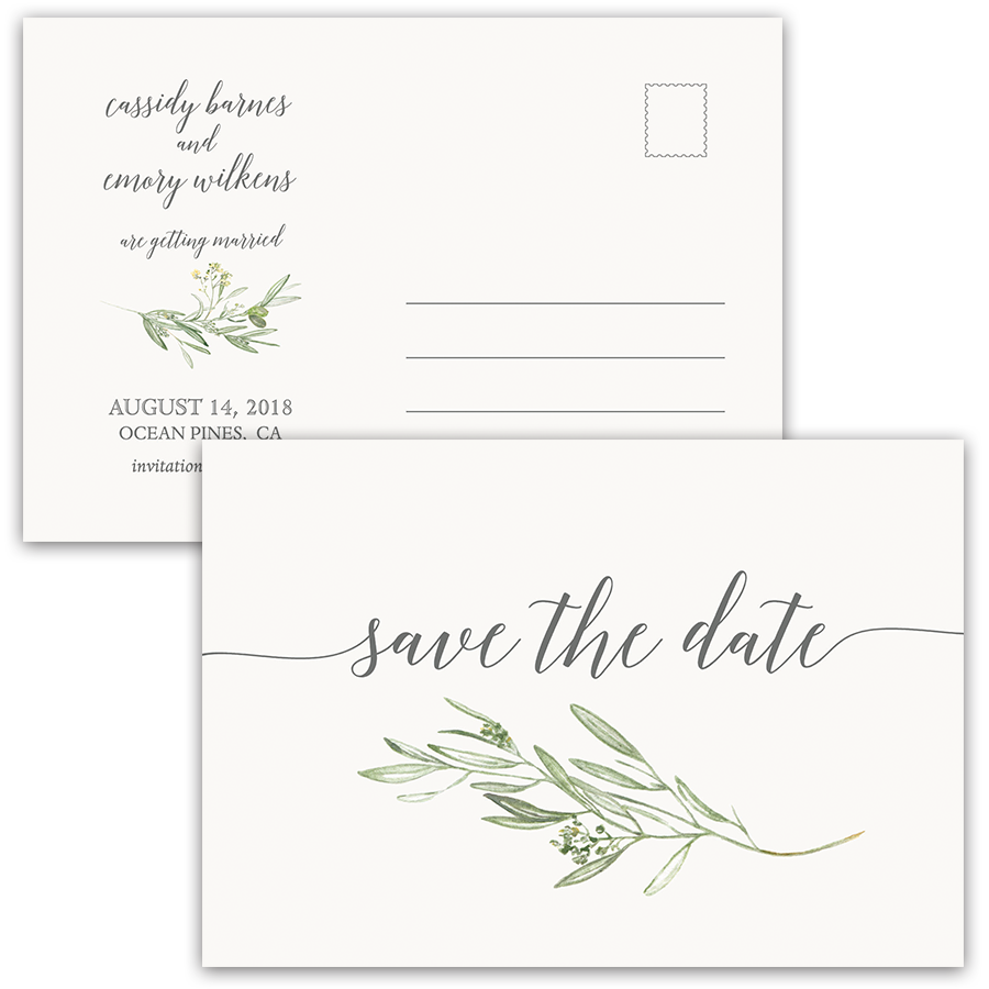 Laurel Leaves Greenery Wedding Save the Date Postcard