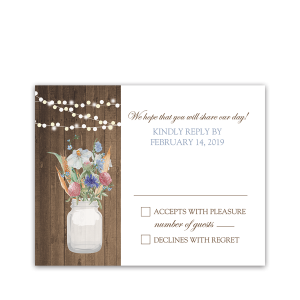Rustic Mason Jar Wildflowers Floral Wedding RSVP