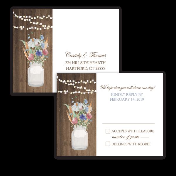 Rustic Mason Jar Wildflowers Wedding RSVP Postcard