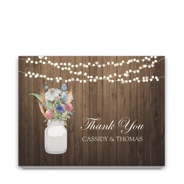 Rustic Mason Jar Wildflower Floral Thank You Cards