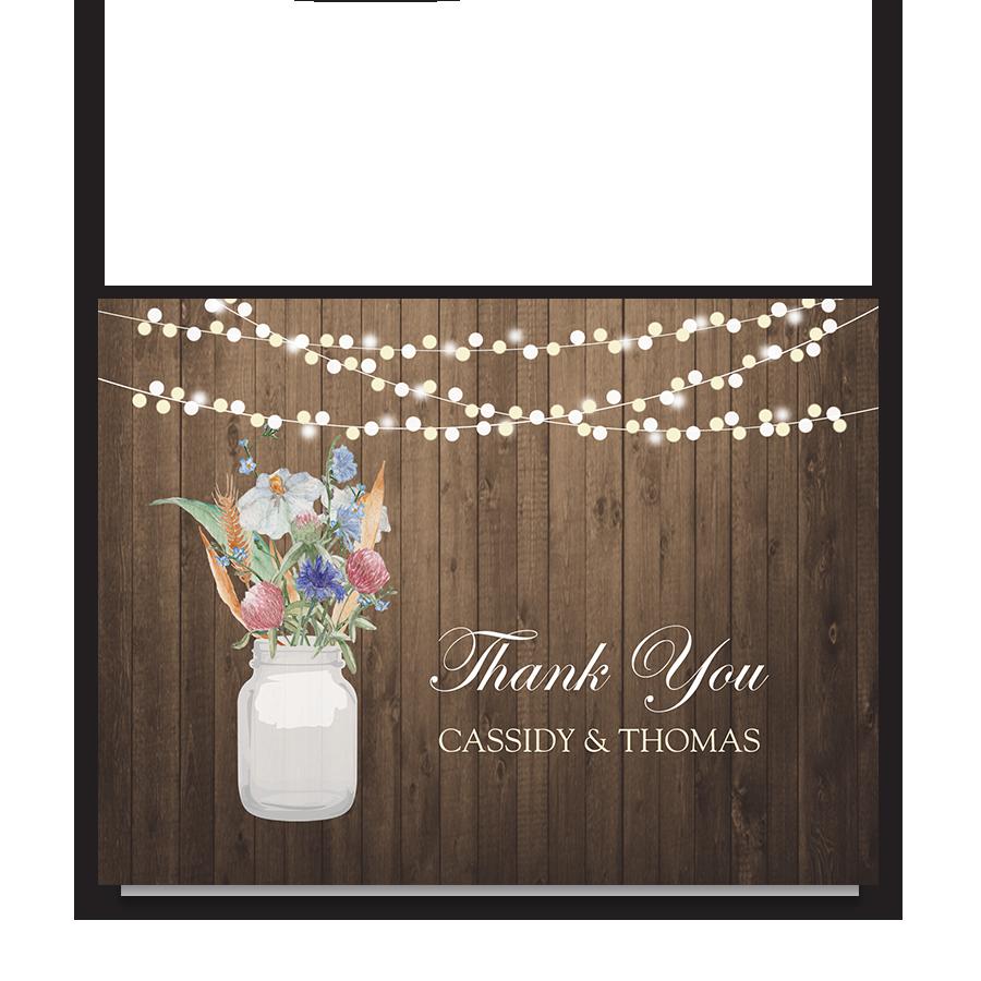 Rustic Mason Jar Wildflower Floral Thank You Cards