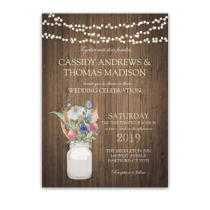 Rustic Mason Jar Wheat Wildflower Wedding Invitations