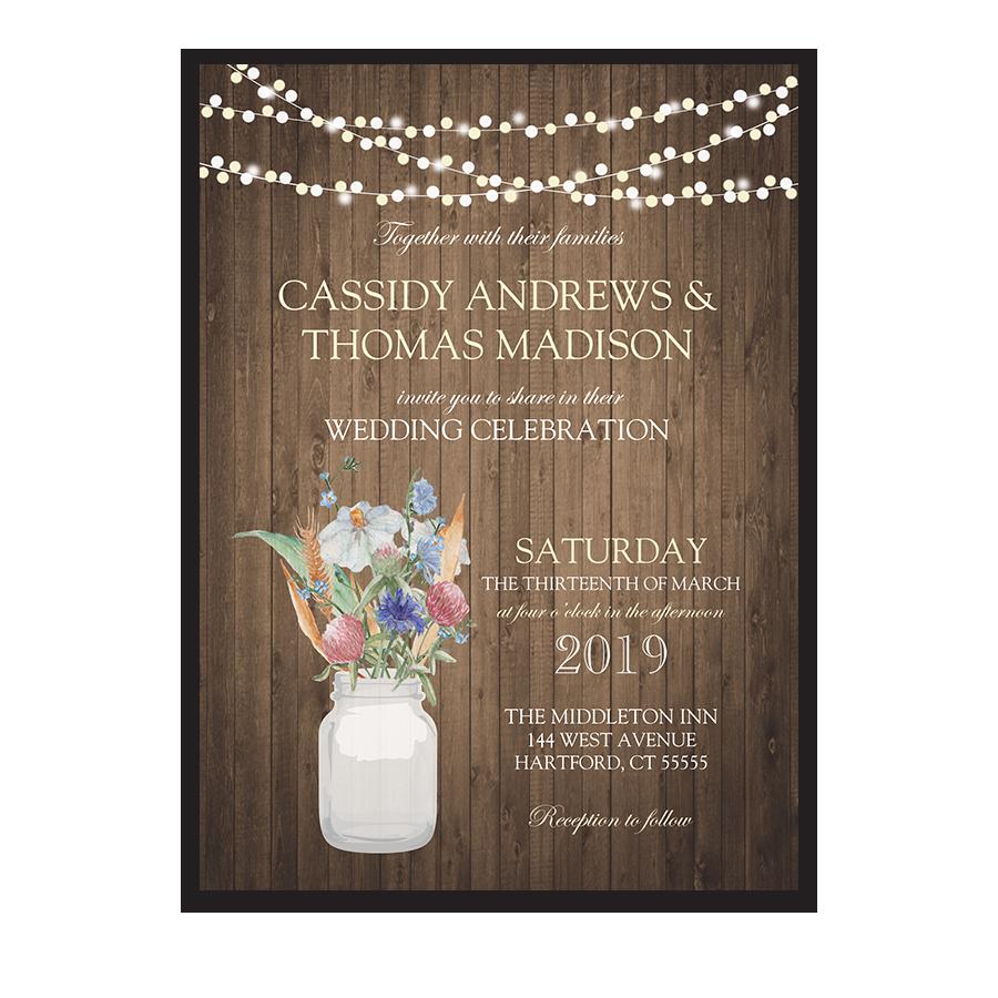 Rustic Mason Jar Wheat Wildflower Wedding Invitations