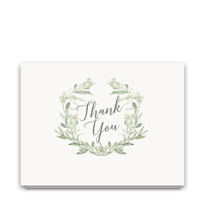Laurel Wreath Greenery Wedding Thank You Cards