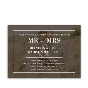 Rustic Photo Background Engagement Party Invitations