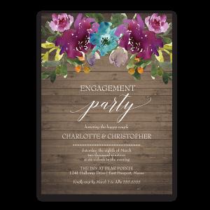 Purple Watercolor Flowers Engagement Party Invite
