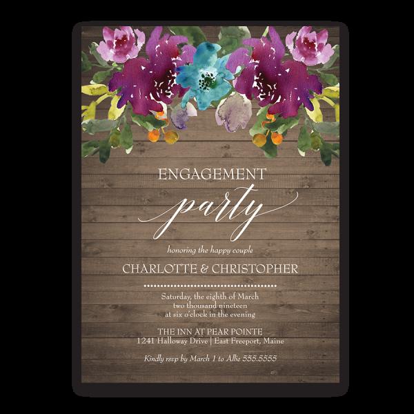 Rustic Burgundy Purple Floral Script Wedding Invitations: Purple Watercolor Flowers Engagement Party Invite