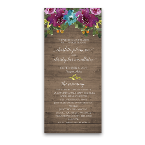 Purple Watercolor Flowers Wood Wedding Program