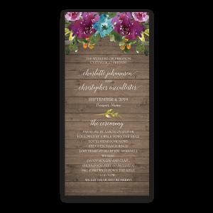 Purple Watercolor Flowers Wood Wedding Program