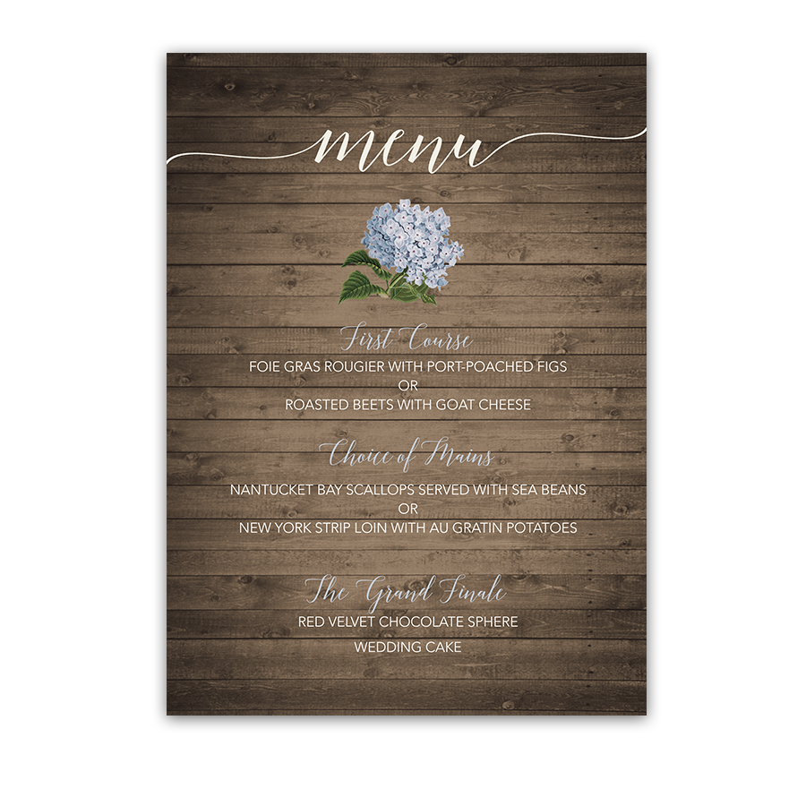 Floral Wedding Menu with Pale Blue Hydrangeas