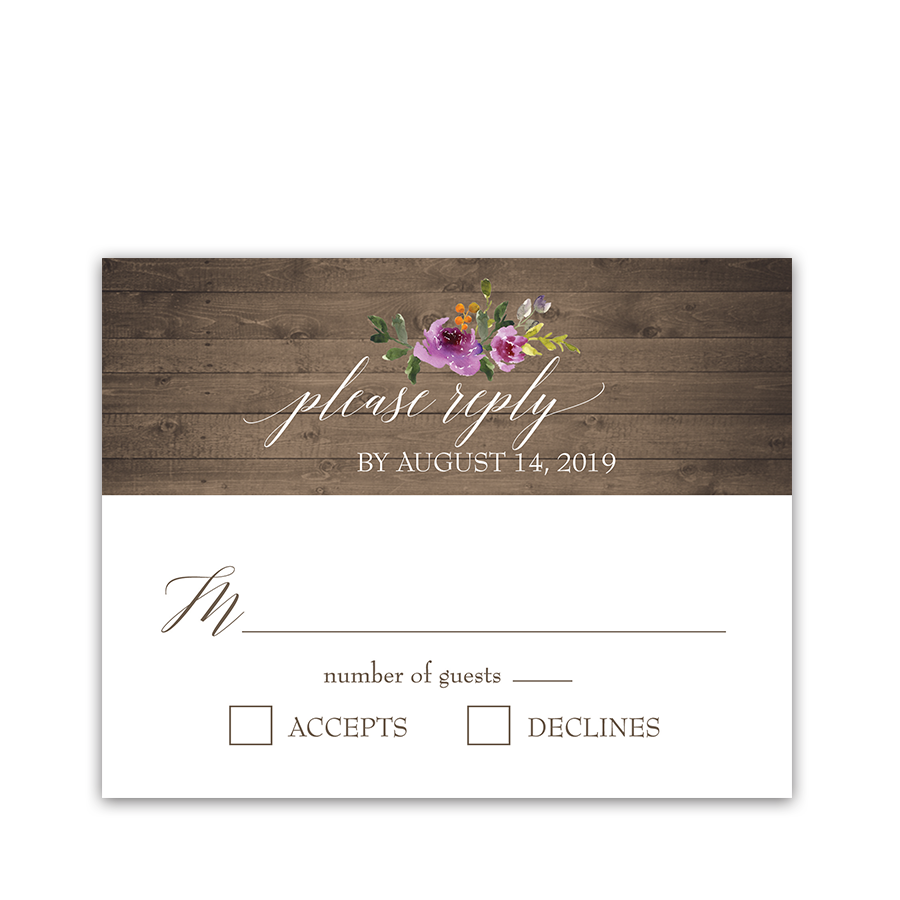 Rustic Purple Floral Wedding RSVP Response Cards