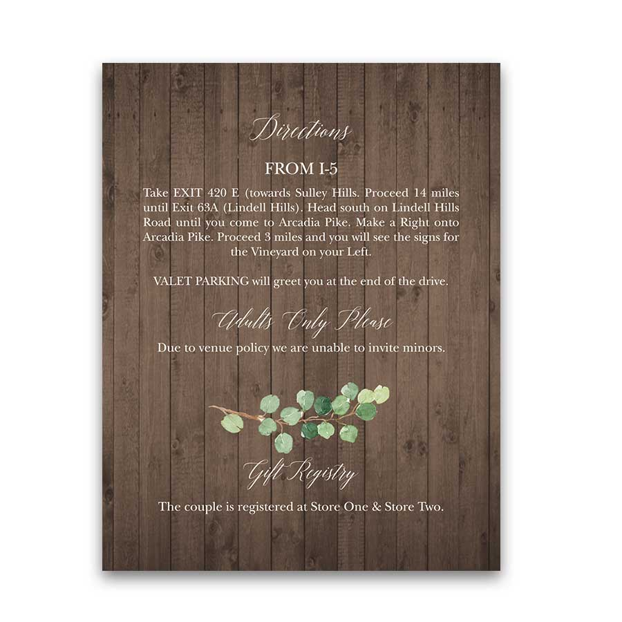Winery Wedding Guest Details Card