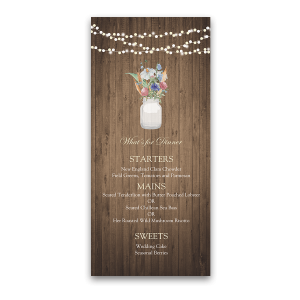 Rustic Mason Jar Wildflowers Custom Wedding Menu